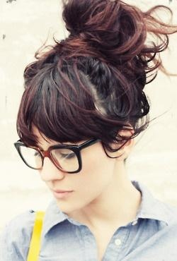 messy bun + bangs