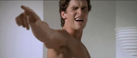 Image result for patrick bateman looking in the mirror