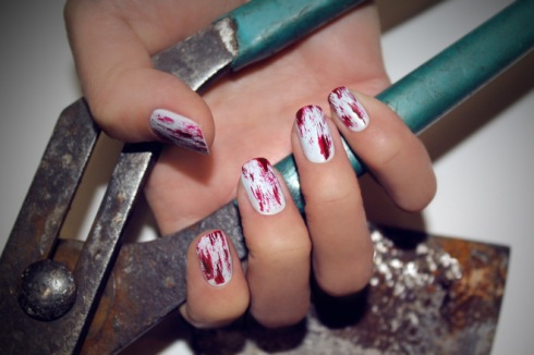 halloween nail art bloody manicure